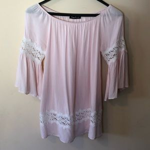 Pink  Lace Top  with Bell Sleeves
